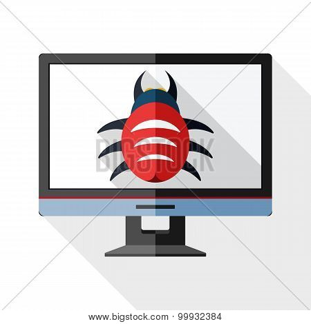 Icon Of Monitor With Malware On The Screen With Long Shadow On White Background