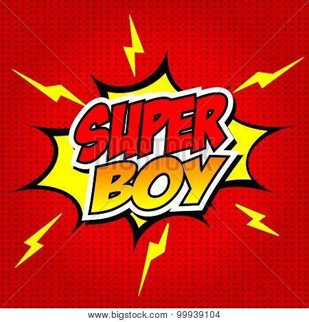 Superboy Comic Speech Bubble, Cartoon.