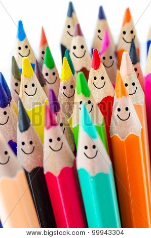 Colorful Pencils As Smiling Faces.