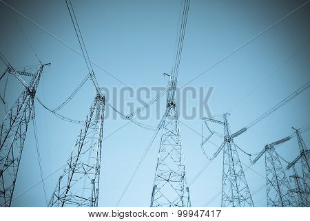 Electricity pylons and lines