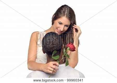 Sentimental Young Woman Hugging Her Boyfriend