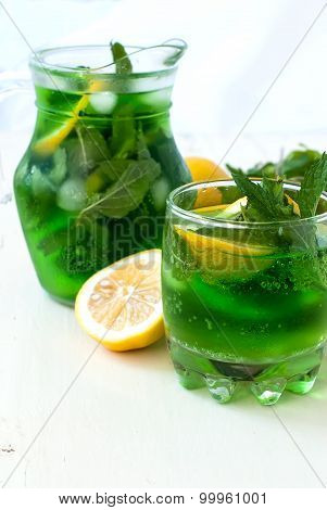 Green Mojito Cocktail With Ice And Mint
