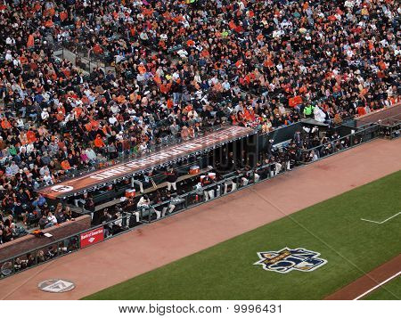 Giants Dugout, Players Stand Watching Action During The Nlcs