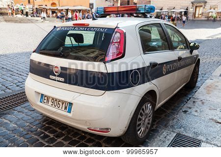 White Fiat Punto Police Car Stands Parked