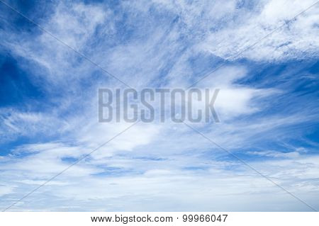 Altostratus And Altocumulus. Bright Blue Sky