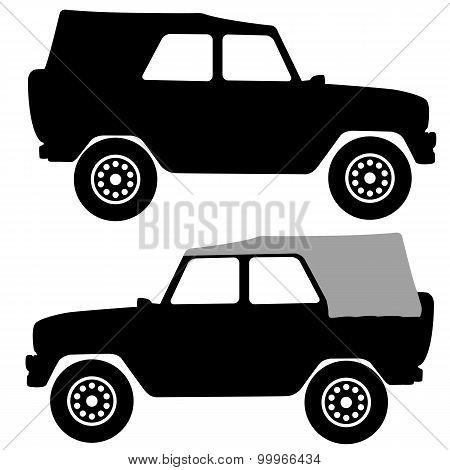 Set Black Silhouettes  Cars On White Background. Vector Illustra