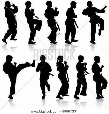 Set Of Black Silhouettes Of Karate. Sport Vector Illustration.