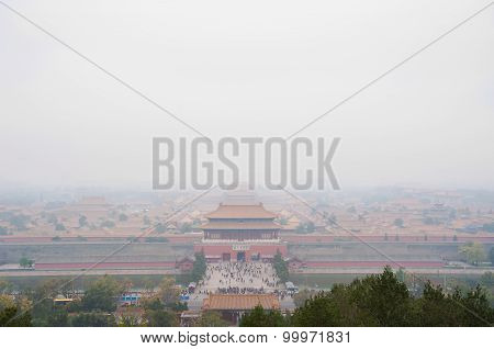 View Of The Forbidden City Shrouded In Pollution From Jingshan Park, Beijing