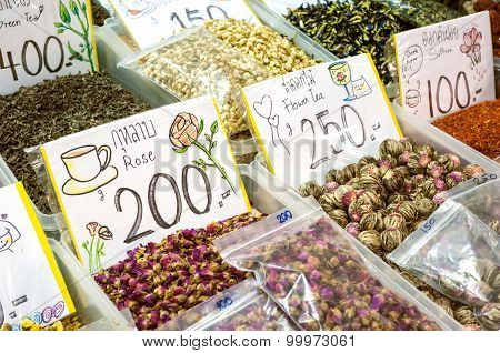 Herbal Tea Stall At A Thai Market
