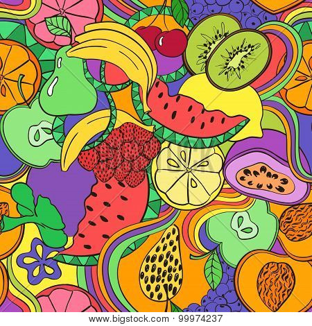 Psychedelic Colorful Fruit Seamless Pattern.