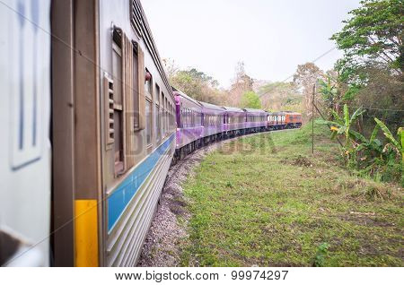 Train Traveling Through The Countryside, Thailand