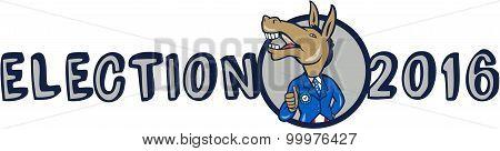 Election 2016 Democrat Donkey Mascot Cartoon