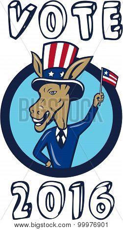 Vote 2016 Democrat Donkey Mascot Flag Circle Cartoon