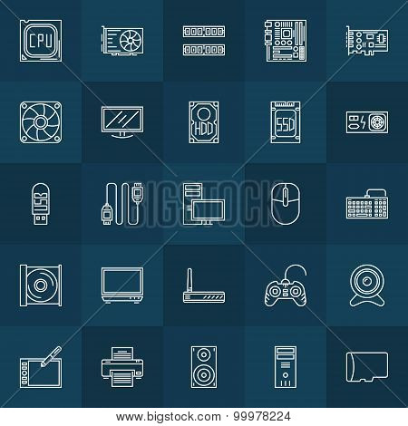 Computer components linear icons