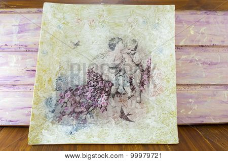 Decoupage Made Painting With Childhood Symbols