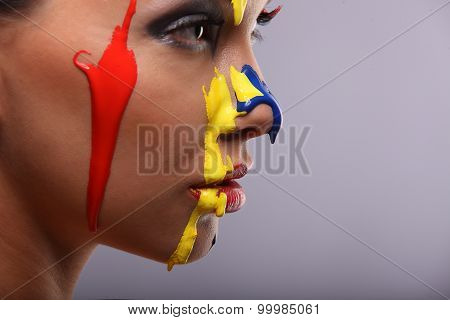 Portrait Of A Woman Painted Conceptual Body Art