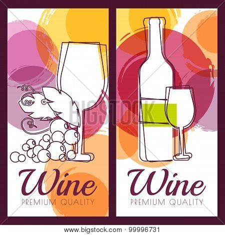 Vector Illustration Of Wine Bottle, Glass, Branch Of Grape And Colorful Watercolor Spots Background.