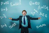 Teen boy genius scientist rastavit hand in hand formula physics science studio background experiencing problems poster