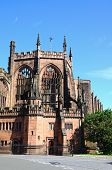 View of the old Cathedral ruin Coventry West Midlands England UK Western Europe. poster