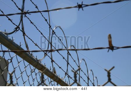 barbed wire fence daytime against sky, sharp prison poster