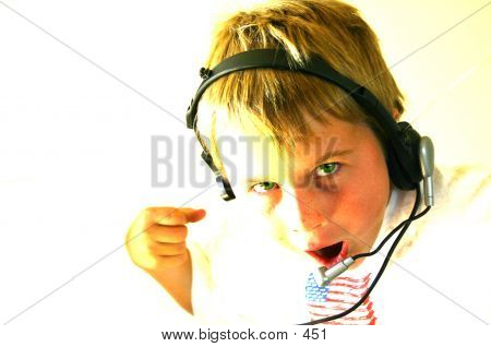 headset kid overexposed poster