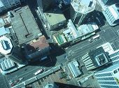 Auckland from the Skytower. Looking down on Downtown street - birds eye view aerial poster