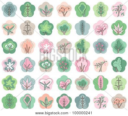 Collection of icons with stylized trees