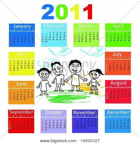 Kleurrijke kalender voor het jaar 2011