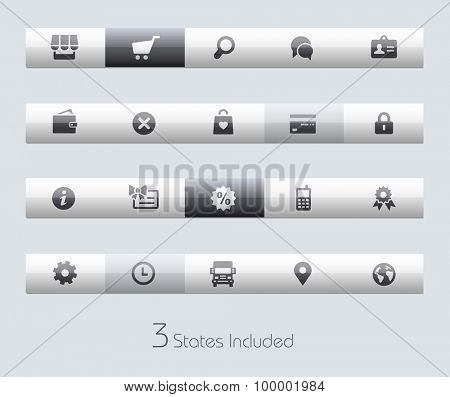 Online Store // Classic Bars +++ The vector file includes 3 buttons states in different layers. +++