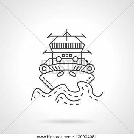 Tugboat thin line vector icon