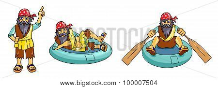 Man With Beard And Bandana On A Rubber Boat.