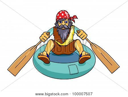 Man With Beard On A Rubber Boat