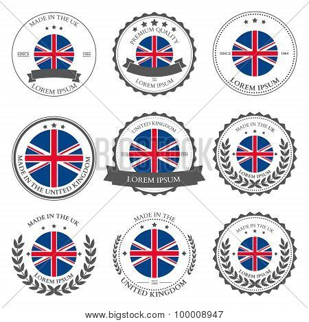 Made In The Uk, Seals, Badges. Vector