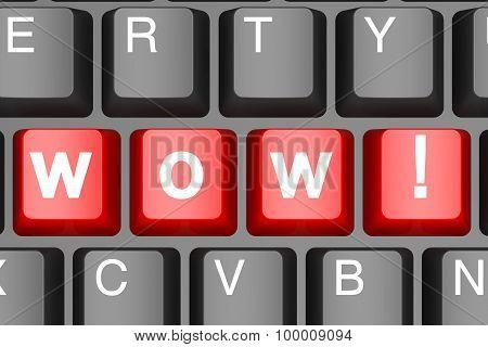 Wow Button On Modern Computer Keyboard