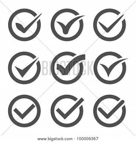 grey vector check marks or ticks in circles