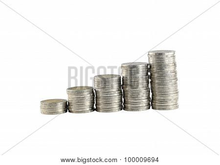 Silver Thailand Coins Stack Isolated On White.