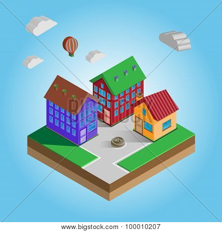 Isometric Colorful Houses On A Street