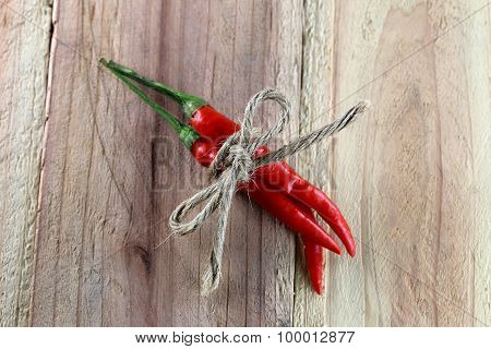 Red Peppers Tied With Hemp Rope.