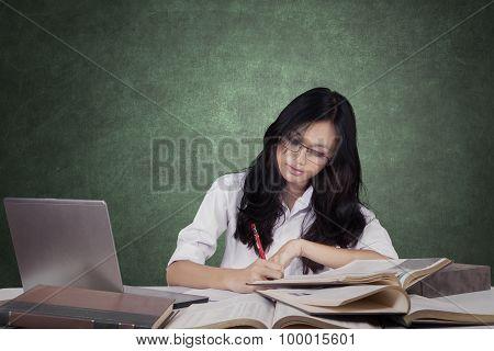 Beautiful Learner Doing School Task In Class