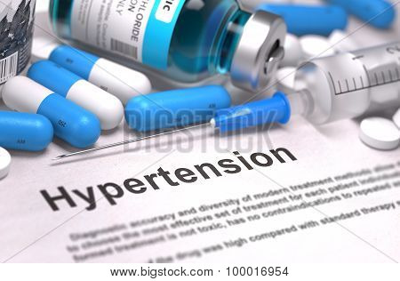 Diagnosis - Hypertension. Medical Concept. 3D Render.