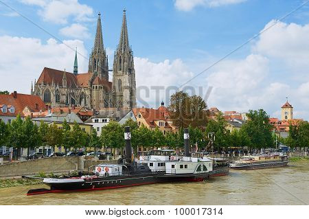 View to Regensburg cathedral and historical buildings in Regensburg, Germany.