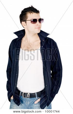 Full Body Portrait Of A Casual Young Man