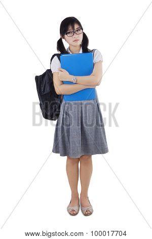 Full Length Of Trendy Female Student