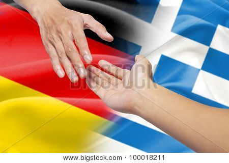 Helping Hands With German And Greece Flags