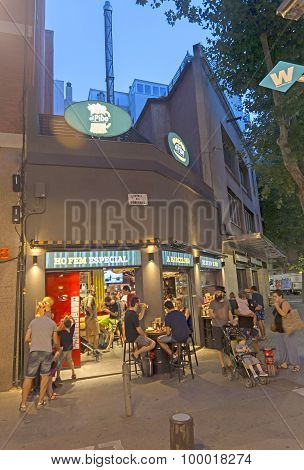 Beer Pub At Rambla Del Poblenou In Summer Night