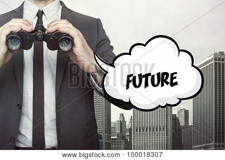 Future text on speech bubble with businessman holding binoculars