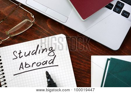 Studying Abroad on a paper.