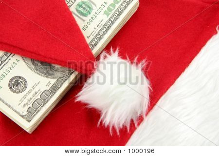 Santa Furry Red  Hat And Us Dollar