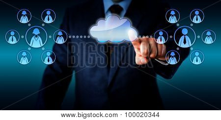 Consultant Connecting Two Work Teams Via Cloud