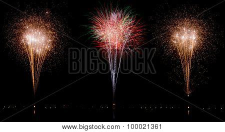 New Year Or Any National Event With Multi-colored Fireworks